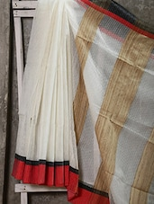 Bengal Cotton With Ganga Jamuna Border In Red And Black, Body In White With Self Stripe And Geecha Anchal - Attire Zone