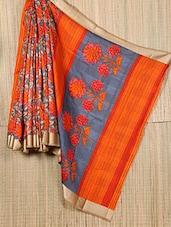 Orange Floral Printed Art Silk Georgette Saree - Sagar