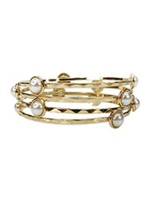 Gold Metal Alloy With Acrylic Bangle - Salt