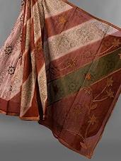 Floral Embroidered & Printed Jacquard Net Saree - JBT
