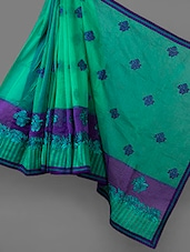 Light Green Embroidered Cotton Supernet Saree - Vedika