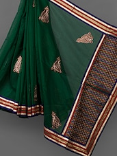 Dark Green Embroidered Cotton Supernet Saree - Vedika