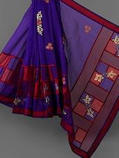 Royal Blue Embroidered Cotton Supernet Saree - Vedika