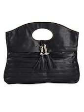 Pleated Black Office Handbag - Spice Art