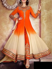 orange georgette anarkali suits unstitched suit -  online shopping for Unstitched Suits