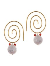Spiral Gold Plated Hoop Earrings  With Coral And Pearls - By