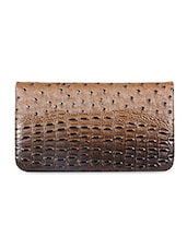 Leather Embellished Brown Clutch - Sale Mantra