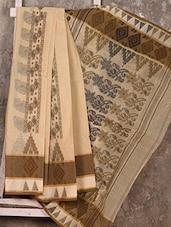 Beige Floral Pallu Handloom Cotton Saree - SWATI