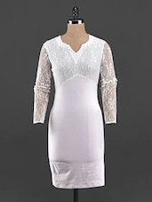 Solid White Lace Sleeve Bodycon Dress - Guster Ve..