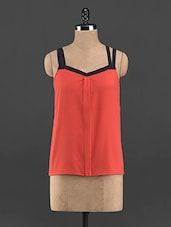 Black Strap Solid Red Polyester Top - Guster Ve..