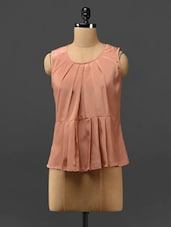Peach Pleated Sleeveless Polyester Top - Phenomena
