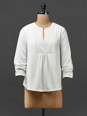 Off-white Long-sleeved Top With Lacy Yoke - Phenomena