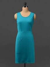 Solid Teal Dress With Cut-work Detailed Back - Phenomena
