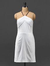 White Halter-neck Cotton Lycra Dress - Phenomena