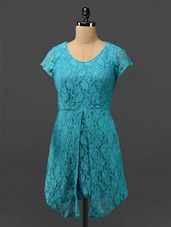 Turquoise Floral Front Slit Lace Dress - Phenomena