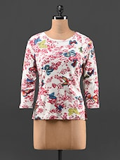 Butterfly  & Floral Print Viscose Top - Feyona