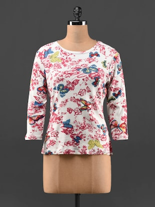 Butterfly  & floral Print Viscose top