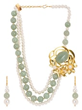 Floral Side Locket Pearl Necklace Set