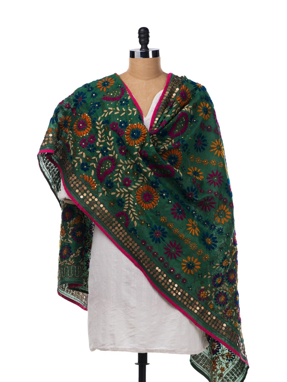 Green Chanderi Silk Hand Embroidered Dupatta - Vayana