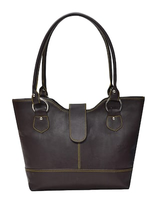 brown leatherette handbag