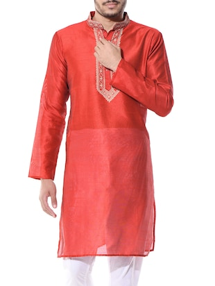 Red Embroidered Dupion Kurta