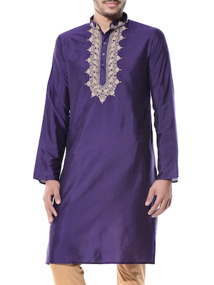 Violet and beige kurta pyjama set