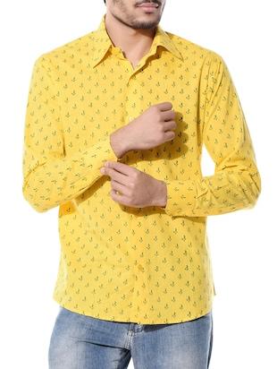 yellow cotton printed casual shirt
