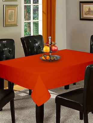 Lushomes Unidyed Red Wood Holestitch Table Cloth with 5 cms Hemmed (Double Border) Holestitch on all 4 Sides for 12 Chair Standa