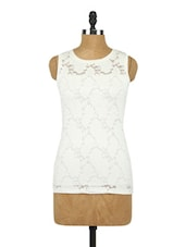 Round Neck Sleeveless Knit Lace Top - Raindrops