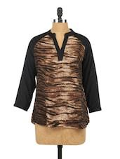 Tiger Print Mandarin Collar Rayon Top - Raindrops