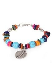 Multicolour Beads Leaf Charm Bracelet - Fayon