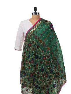 Green Chanderi Silk Dupatta - Vayana
