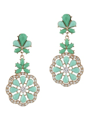 Flower shaped stone Drop Earrings