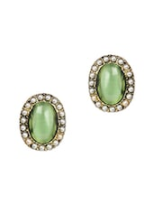 Green Stone & Pearls Embellished Earrings - Fayon