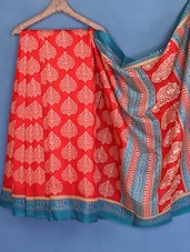 Red Printed Art Silk Saree - Styloce