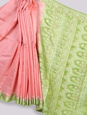Pink And Green Art Silk Banarasi Saree - Prabha Creations