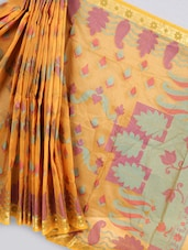 Orange Art Silk Banarasi Saree - Prabha Creations