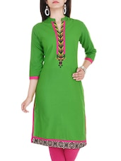 Rayon Embroiery Solid  Green Color Kurta - By