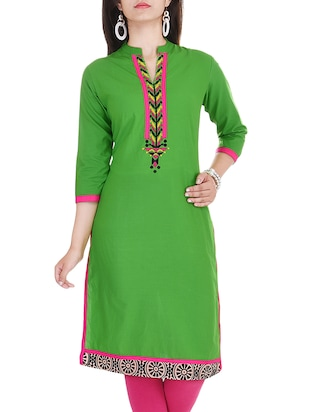Rayon Embroiery Solid  Green Color kurta