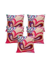 Multi Colored Cotton Blend Combos Set Of 5 Cushion Cover - By