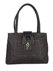 Black Textured Leatherette Handbag - Bags Craze