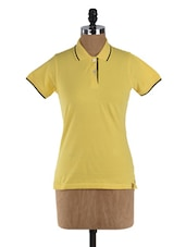 Yellow Short Sleeve Cotton T-shirt - Campus Sutra