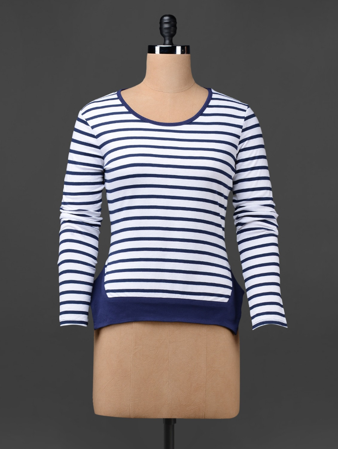 Long Sleeves Striped Knitted Cotton Top - Colbrii