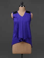 Sleeveless Assymetric Poly Crepe Top - Colbrii