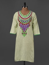 Pista Green Embroidered Khadi Kurti - Aujjessa