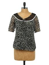 Short Sleeves Printed Chiffon Top - Imu