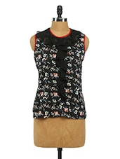 Sleeveless Floral Print Crepe Top - Imu