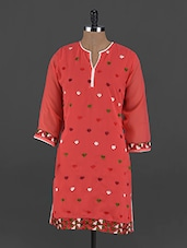 Red Hand Embroidered Georgette Phulkari Kurti - UPTOWNGALERIA