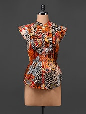 Printed Mandarin Collar Cotton Top - UPTOWNGALERIA