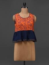 Orange Cotton Floral Hand Block Printed Top - 9rasa